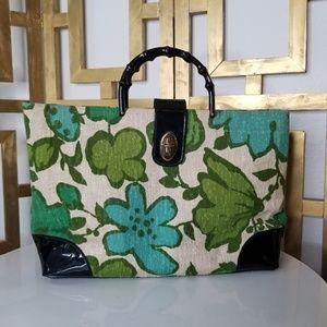 Vintage Green Black Carpet Bag Bamboo Handle Purse